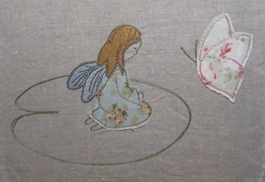 "Embroidery design ""girl with butterfly"""