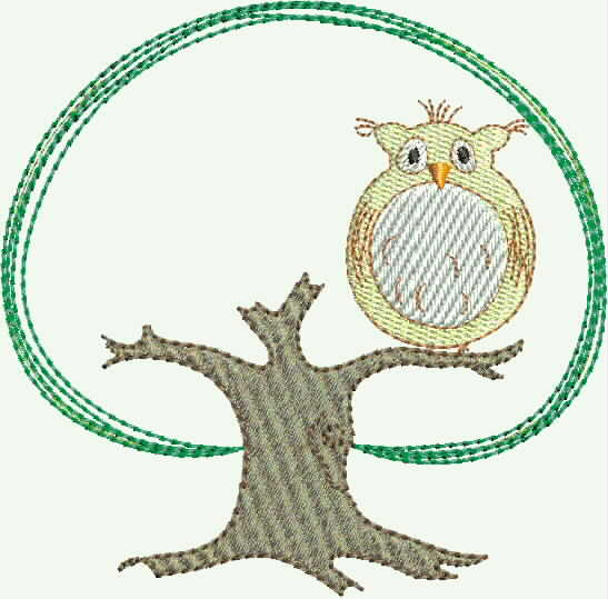 Eulenbaum   owl tree embroidery design