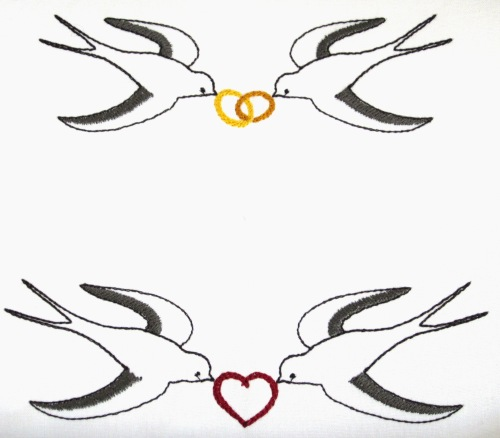embroidery design swallows with rings
