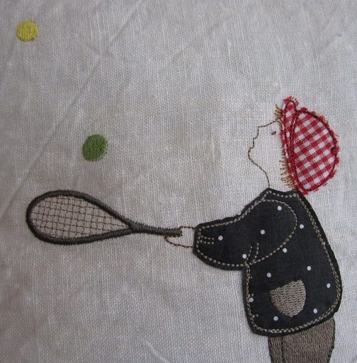 boy with balls and racket embroidery design