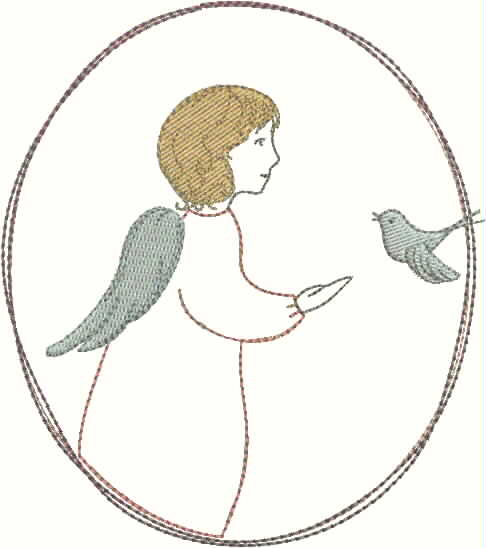 "embroidery design ""little angel with bird"""