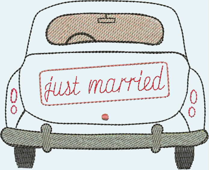 "embroidery design ""just married"""