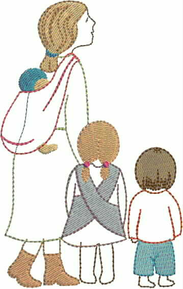 """embroidery design """"mother with 3 children"""""""
