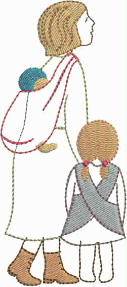 """embroidery design """"mother and two children"""""""
