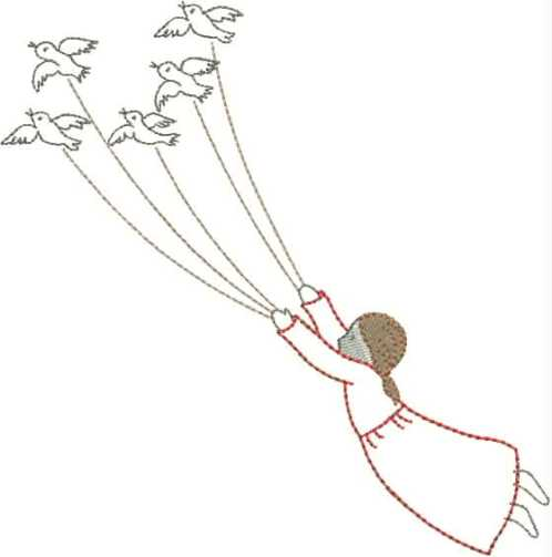 "embroidery design ""girl with flock of birds"""