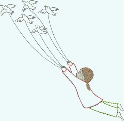 embroidery design girl flying with birds