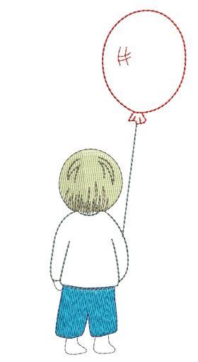 Stickdatei Stickmuster Bernina Tajima Melco Husquarna Kenmore  Pfaff Singer Bube mit Luftballon