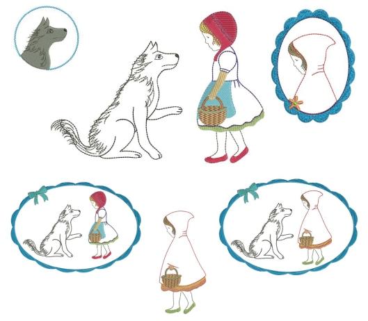 embroidery designs Stickdatei Stickmotive Stickvorlage Rotkäppchen und der böse Wolf